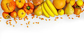 autumn yellow and orange vegetables and fruits