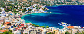 Traditional colorful Greece - travel in Leros Island, scenic Agia marina . Dodekanese