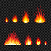 Burning fire flames photo realistic vector set