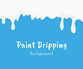 Paint dripping, white liquid or milk drips vector isolated. Drip splash, trickle leak illustration