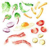 Hand drawn watercolor fast food illustration