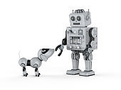 Robot tin toy with dog