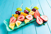 Fruit on wooden skewers