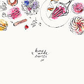 Hand drawn food and drink illustration. Ink and watercolor sketch of sweet dessert