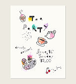 Hand drawn ink and watercolor card with doodle style illustrations.