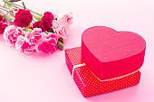 Heart shaped Valentines Day gift box with flowers, isolated on pink