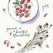Summer ink and watercolor stain illustration. Wild strawberries on a plate and daisy bouquet top view and hand lettering.