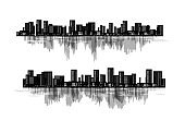 Night cityscapes collection. Horizontal dividers. Vector decoration in abstract style.