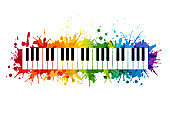 Creative rainbow musical illustration. Vector decoration element with piano keys silhouette and rainbow paint splashes