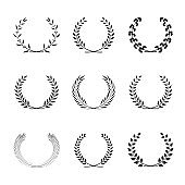 Award wreath collection. Vector decoration elements. Round foliate frames for certificate design, achievement, anniversary or heraldic emblems.