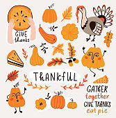 Hand drawn pumpkins and leaves. Cute card design for Halloween or Thankful day. Vector thanksgiving illustration.