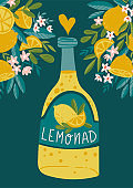 Tropical summer poster. Lemonade card. Hand drawn smoothies, lemonade, fresh, juice, detox. Vector illustration with lemons, flowers and bottle.