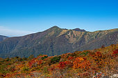 A view of the top of Mount Nasu. Nikko National Park The scenery of autumn leaves.
