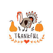 Happy Thanksgiving Day card design with holiday objects. Thanksgiving turkey and pumpkins. Greeting card.