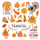 Vector set for Thanksgiving day. Cute hand drawn illustration with decor elements for thankful day. Sticker set.