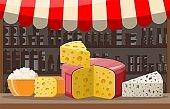 Cheese street market store stall.