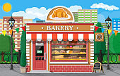 Bakery shop building facade with signboard.