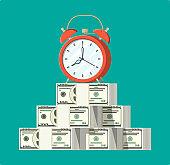 Clock, dollar banknotes.