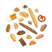Big bread icons set.