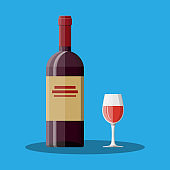 Red wine bottle and glass. Wine alcohol drink.