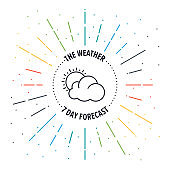 Weather Forecast Vector Web Banner Illustration With Line Icon.