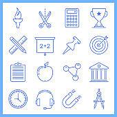 School Improvement Blueprint Style Vector Icon Set