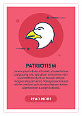 Bald Eagle Patriotism Web Banner Illustration with Icon.