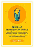 Corn Farming Web Banner Illustration with Icon.