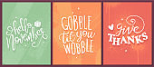 Three Thanksgiving Greeting Cards with White Handwritten Text on Abstract Backgrounds