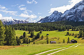 Beautiful view over the Dolomites, UNESCO World Heritage Site. A mountain range located in northeastern Italy.