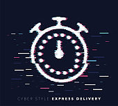 Express Delivery Glitch Effect Vector Icon Illustration