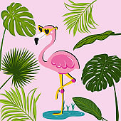 Flamingo and palm leafs - Good for t-shirt, posters, textiles, gifts, travel sets.