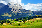 Spectacular view of majestic rocky mountains in Alpe di Siusi