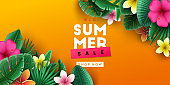 Summer sale background with tropical flowers and palm leaves