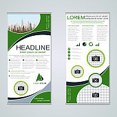 Roll-up two-sided banner vector template