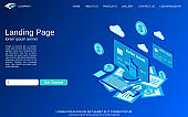 Online banking, money transfer, financial transaction vector concept