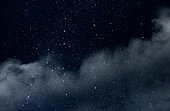 Starry Sky with Stars and Clouds