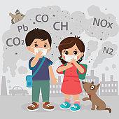 Ecology Concept Air Pollution. Co2, Pb, Ch, Nox Emissions Cloud Vector Illustration.