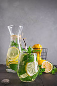 Infused water with lemon and mint in glass. Close up. Healthy detox drink.