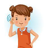 Little girl listening