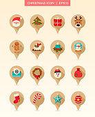 Christmas pin map icon set. Holiday collection