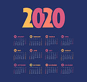 Vector calendar 2020 year. Week starts from Sunday