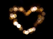 Golden bokeh heart shape