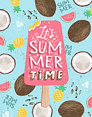 Summer! Cute vector illustration of pink strawberry ice cream on a background of fruits, coconut, watermelon and pineapple for a poster, card, flyer or banner