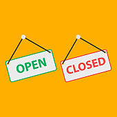 Open and closed sign fod door