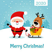 Santa Claus with deer and gifts in sleigh