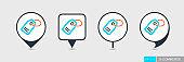 Tag pin map icon, price label symbol