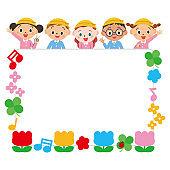 Cute frame with kindergarten
