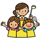 Mother and children who cook