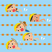Children swimming in the pool